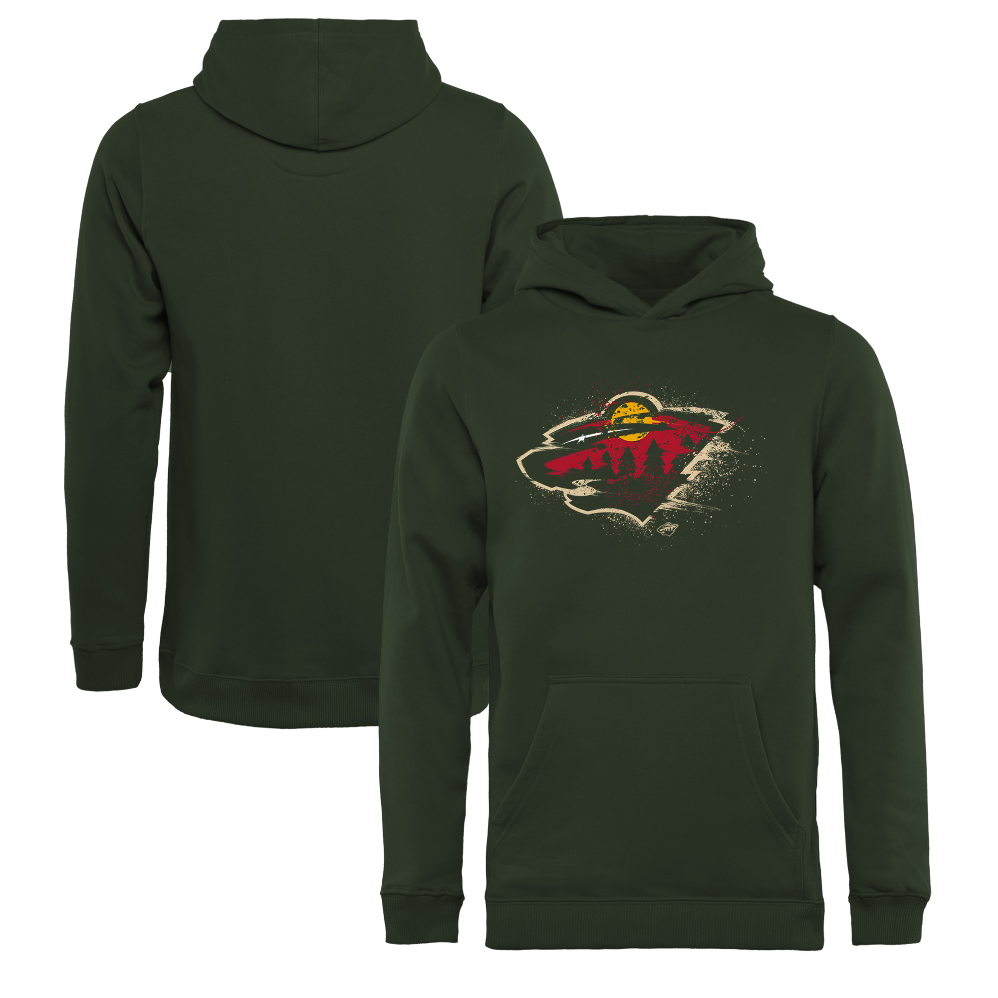 Minnesota Wild Fanatics Branded Youth Splatter Logo Pullover Hoodie - Green