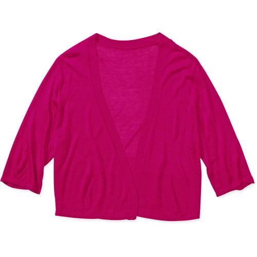 Faded Glory Women's Plus-Size Cropped Lightweight Sweater Cardigan