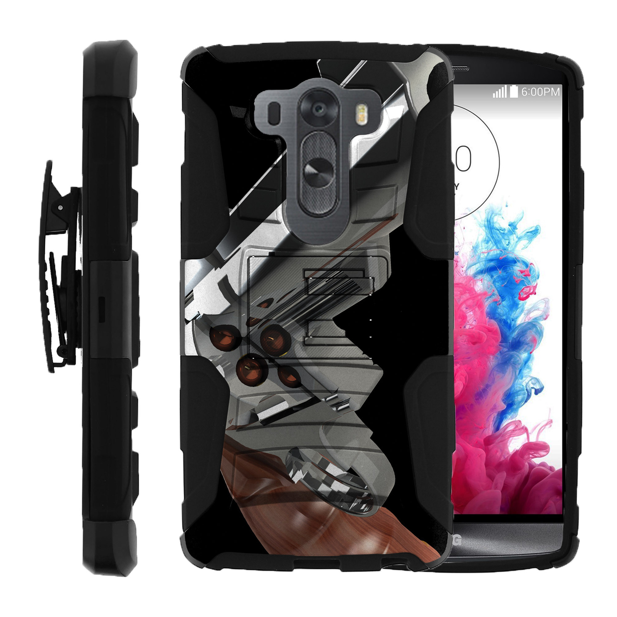 LG V10 and LG G4 PRO Miniturtle® Clip Armor Dual Layer Case Rugged Exterior with Built in Kickstand + Holster - Trigger and Target