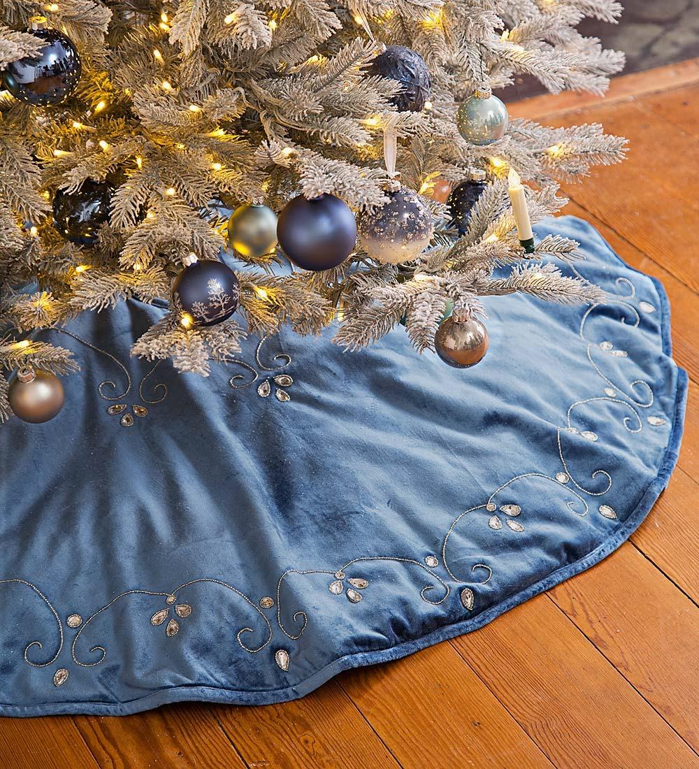 blue velvet tree skirt walmart