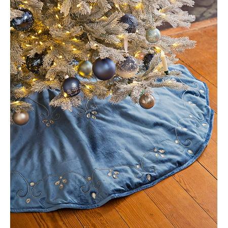 Blue Velvet Christmas Tree Skirt - Blue Velvet Christmas Tree Skirt - Walmart.com
