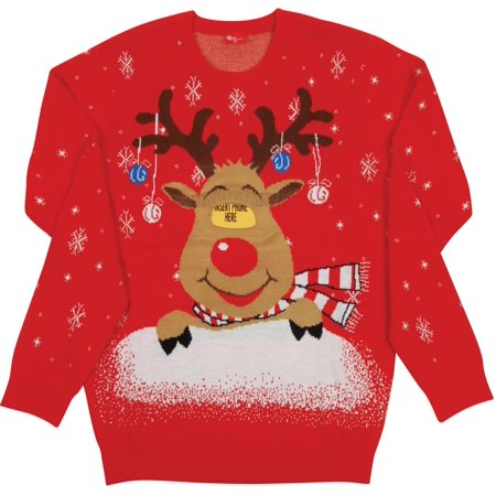 Digital Dudz Adult Rudolph Moving Eyes Ugly Christmas Sweater, Red Brown (Digital Dudz Christmas)
