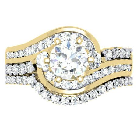 Dazzlingrock Collection 1.50 Carat (ctw) 14K Diamond 3 Stone Bridal Twisted Engagement Ring Set 1 1/2 CT, Yellow Gold, Size 7.5