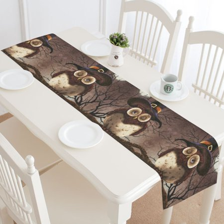 MYPOP Halloween Owl on Tree Table Runner Home Decor 14x72 Inch, Scary Moon Night Table Cloth Runner for Wedding Party Banquet Decoration](Halloween Wedding Table Names)