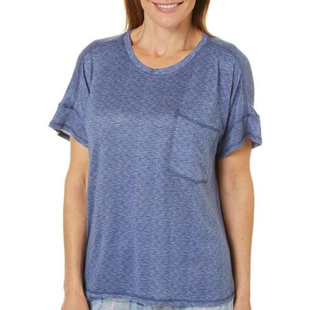 Jaclyn Intimates Womens Space Dye Pocket High-Low Pajama Top Medium Grey/blue