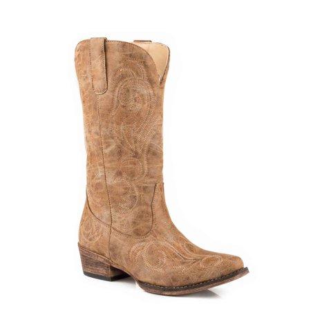 roper women's riley western boot, tan, 6.5 d