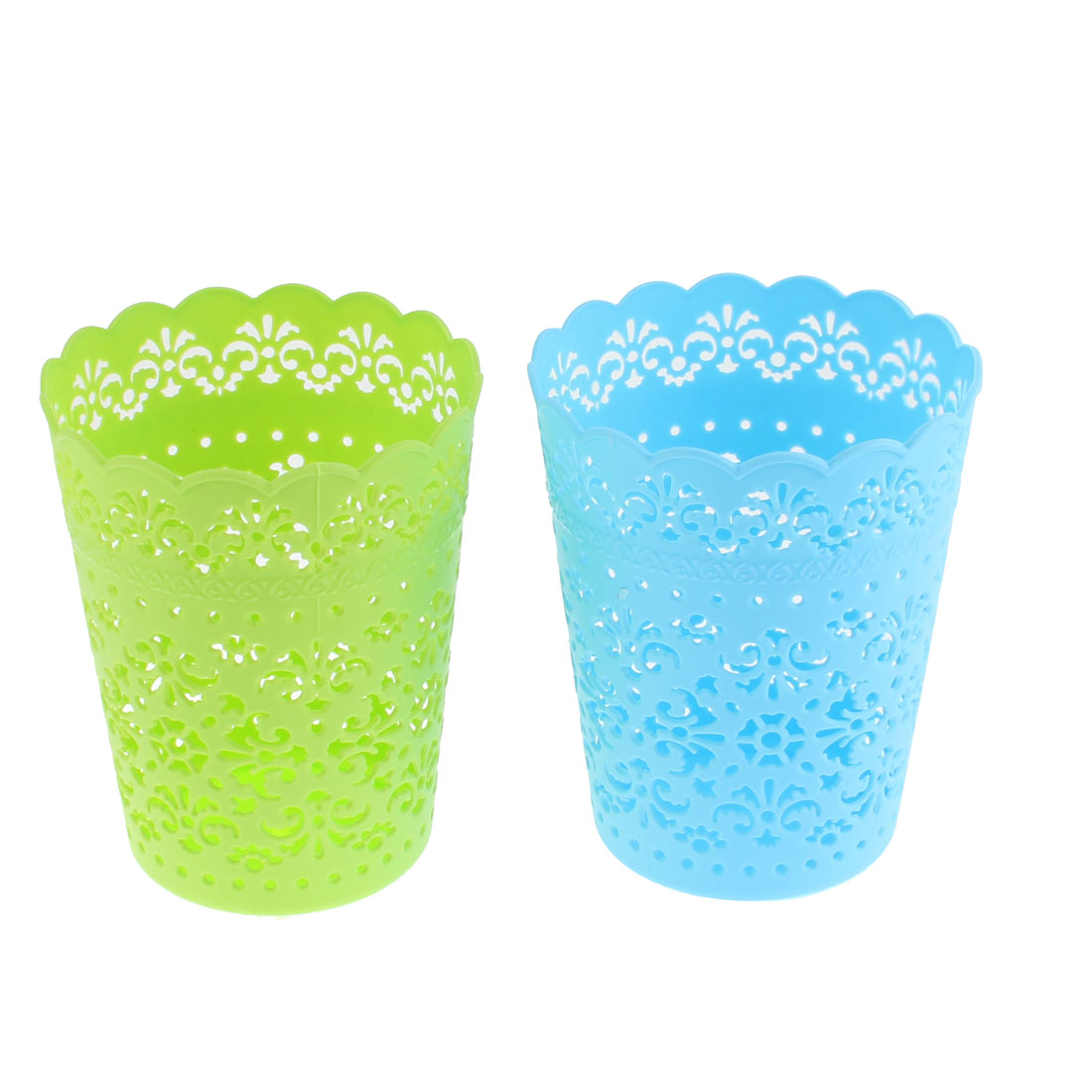 Home Plastic Hollow Out Floral Design Storage Basket Green Blue 2 Pcs