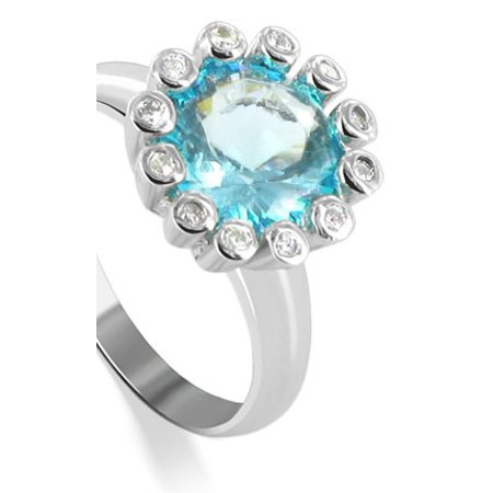 Gem Avenue 925 Sterling Silver Blue Cubic Zirconia Flower Shape Ring