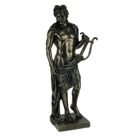 Polyresin Posing Greek God Apollo Holding His Lyre Statue