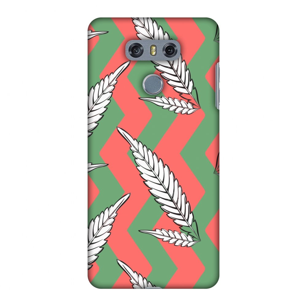 LG G6 Case, LG G6 Plus Case - Along The Chevron - Pink and Green,Hard Plastic Back Cover, Slim Profile Cute Printed Designer Snap on Case with Screen Cleaning Kit