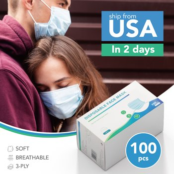 100-Pack Deconovo Disposable Breathable 3-Ply Face Mask with Earloop