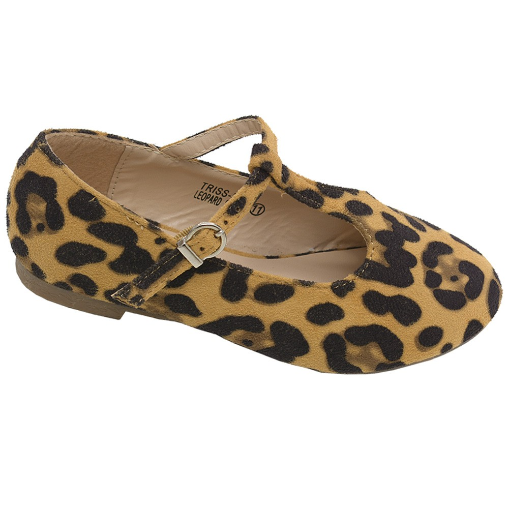 Bella Marie Little Girls Brown Spot T-Strap Faux Suede Flats 10 Toddler