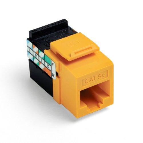 Leviton Yellow Quickport 8-Conductor Cat 5e Jack Cat5e RJ45 5G108-RY5