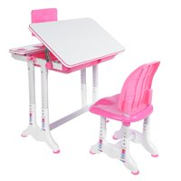 WALFRONT Pink Simple Studying Table Chair Painting Learning Desk and Chair Set, Learning Desk Chairs, Studying Table Set