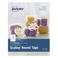"""Avery Scallop Round Tags, Textured, 2-1/2"""" Diameter, 90 Tags (80511)"""