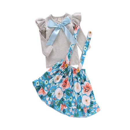 Toddler Kids Baby Girl Dress Outfits Floral T Shirt Tops Suspender Skirt Suits