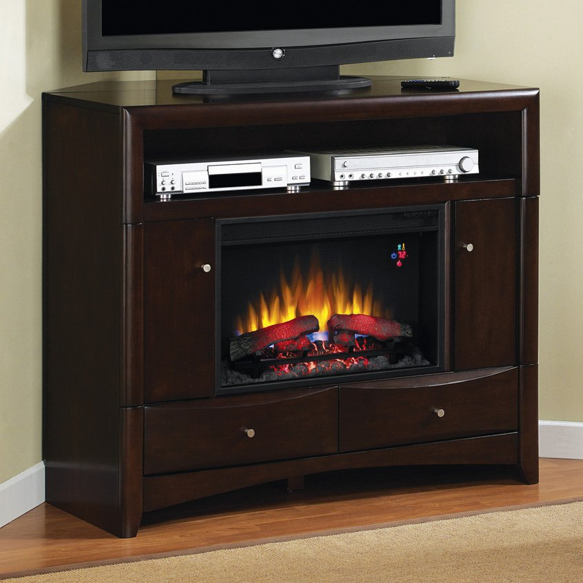 Classic Flame Delray Media Wall/Corner Electric Fireplace - Walnut