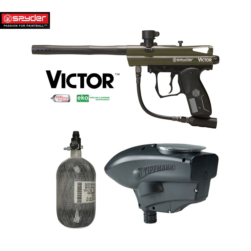 Click here to buy Spyder Victor Advanced HPA Paintball Gun Package Olive Green.