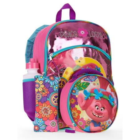 Trolls 5-Piece Backpack Set With Lunch Bag - Backpack With Lunchbox