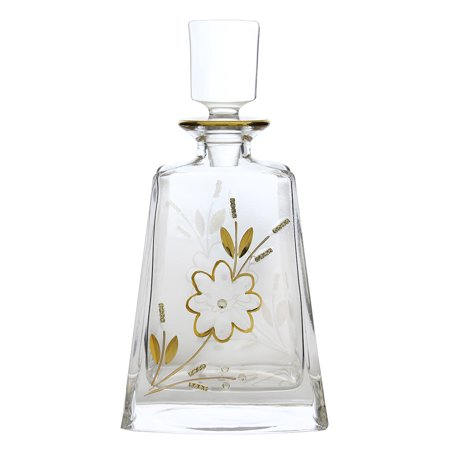 24 Ounce Square Decanter (Crystal Clear Gold Flower Stranded Crystal Accented 24 OZ Wine Liquor Bottle Decanter)
