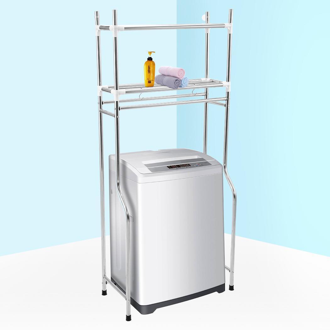2-Tier Adjustable Over Toilet Shelf Laundry Storage Rack Bathroom ...