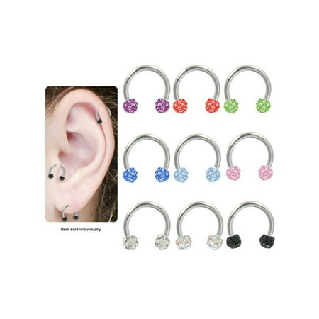 16G Multi Gem CZ Balls Surgical Steel Circular Horseshoe Barbell Sold -