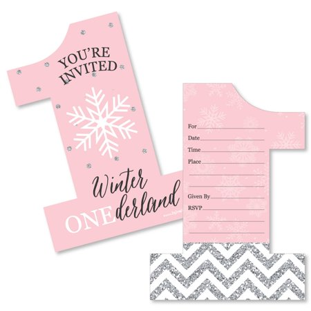 Pink ONEderland - Shaped Fill-In Invitations - Holiday Snowflake Winter Wonderland Birthday Party Invitation - 12 (Holiday Invitations)