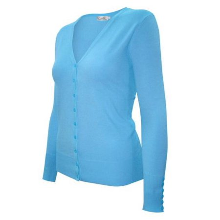 Enimay Womens Fashion V-Neck Cardigan Aqua2 Size