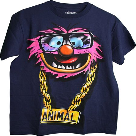Disney The Muppets Animal with gold chain nameplate Adult Men's T-Shirt NAVY
