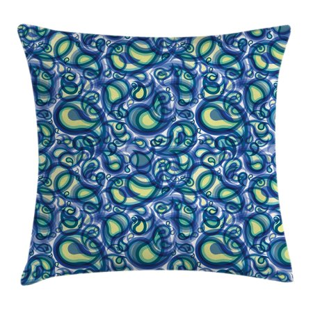 Paisley Decor Throw Pillow Cushion Cover, Indian Ocean Waves Like Design with Big and Small ...