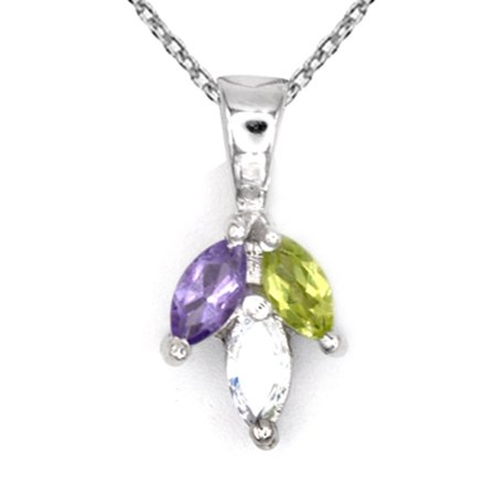 Orchid Jewelry 925 Sterling Silver 0.5 Carat Peridot, Amethyst and Cubic Zirconia (Peridot Amethyst Necklace)