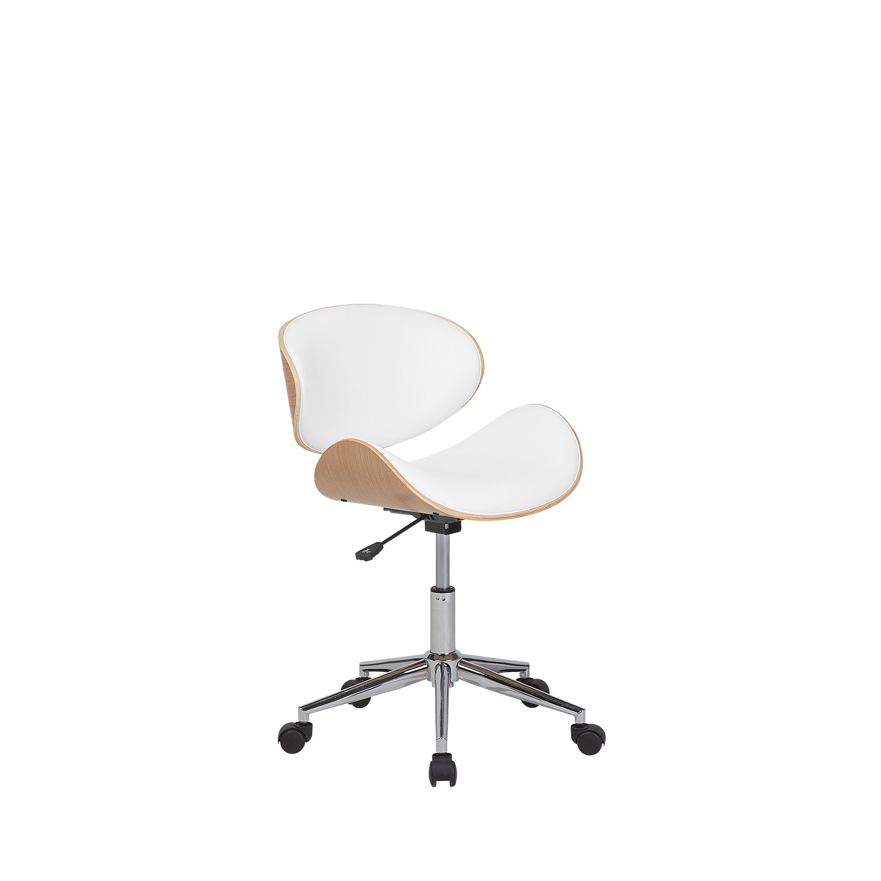 Beliani Armless Swivel Office Chair Adjustable Base White