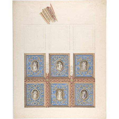 """Carved and Painted Ceiling with Six Figural Medallions for Cleish Castle Poster Print by John Gregory Crace (British London 1809  """"1889 Dulwich)  and Son (18 x"""