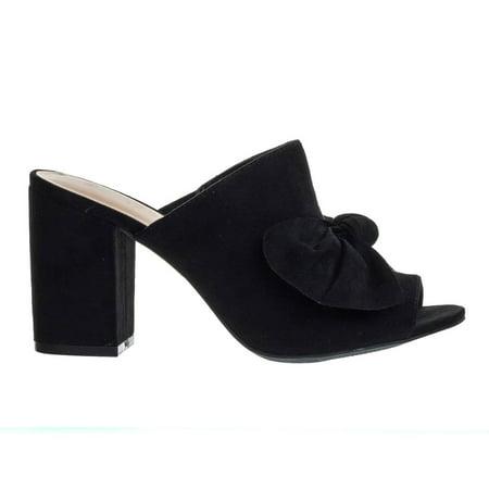 Susie45 by Wild Diva, Chunky Block Heel Slip On Mule Sandals w Peep Toe & Oversized - Little Bow Peep
