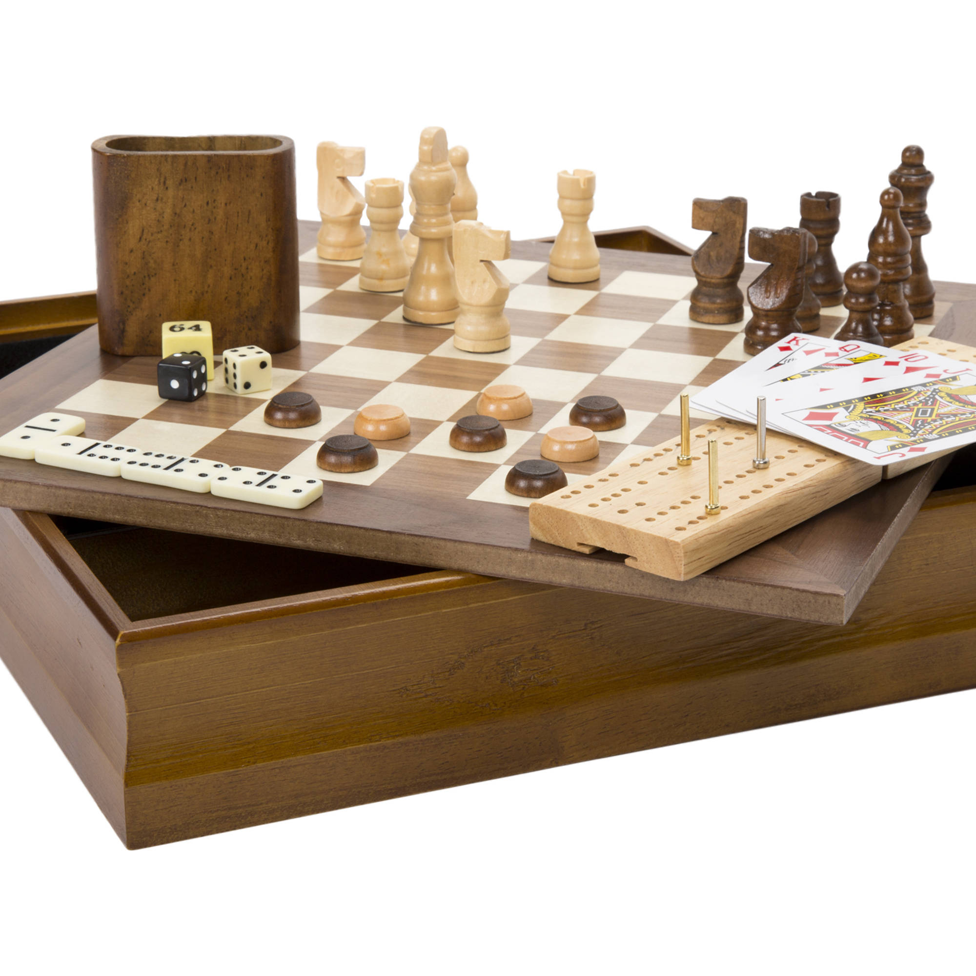Hey! Play! 7-in-1 Classic Combo Game, Chess, Checkers, Cribbage and More