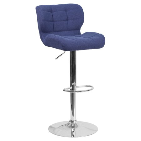 Logo Fabric Bar Stool - Flash Furniture Contemporary Tufted Fabric Adjustable Height Barstool with Chrome Base, Multiple Colors