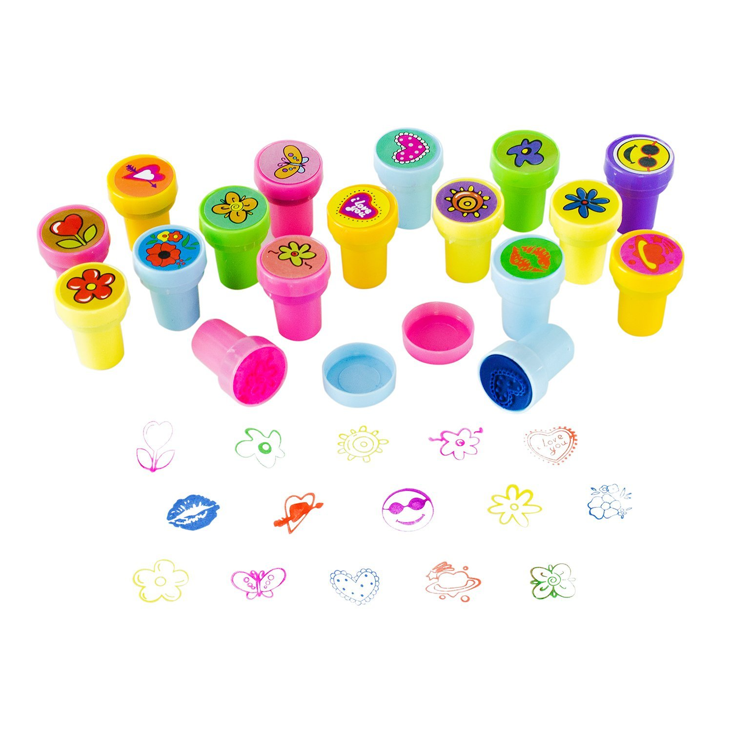 Assorted Mini Colorful Rubber Hearts, Smiley Faces, Flower Design Stamps for Children Party Favor Gifts (50 Pack) by Super Z Outlet