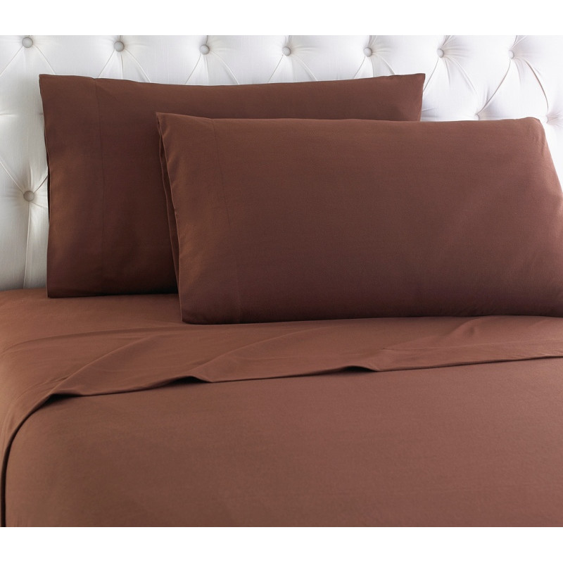 Egyptian Bedding 100% Egyptian Cotton 300 Thread Count 4 Peice Bed Sheet Set, Chocolate Solid, Full Size