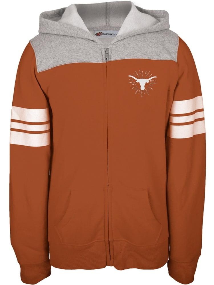 Texas Longhorns - Rhinestone Rays Logo Girls Youth Zip Hoodie