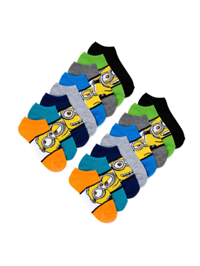 Minions Boys Socks, 12 + 4 Pack No Show Socks Sizes S - L