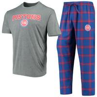 Detroit Pistons Concepts Sport Troupe T-Shirt & Pants Sleep Set - Heathered Gray/Blue