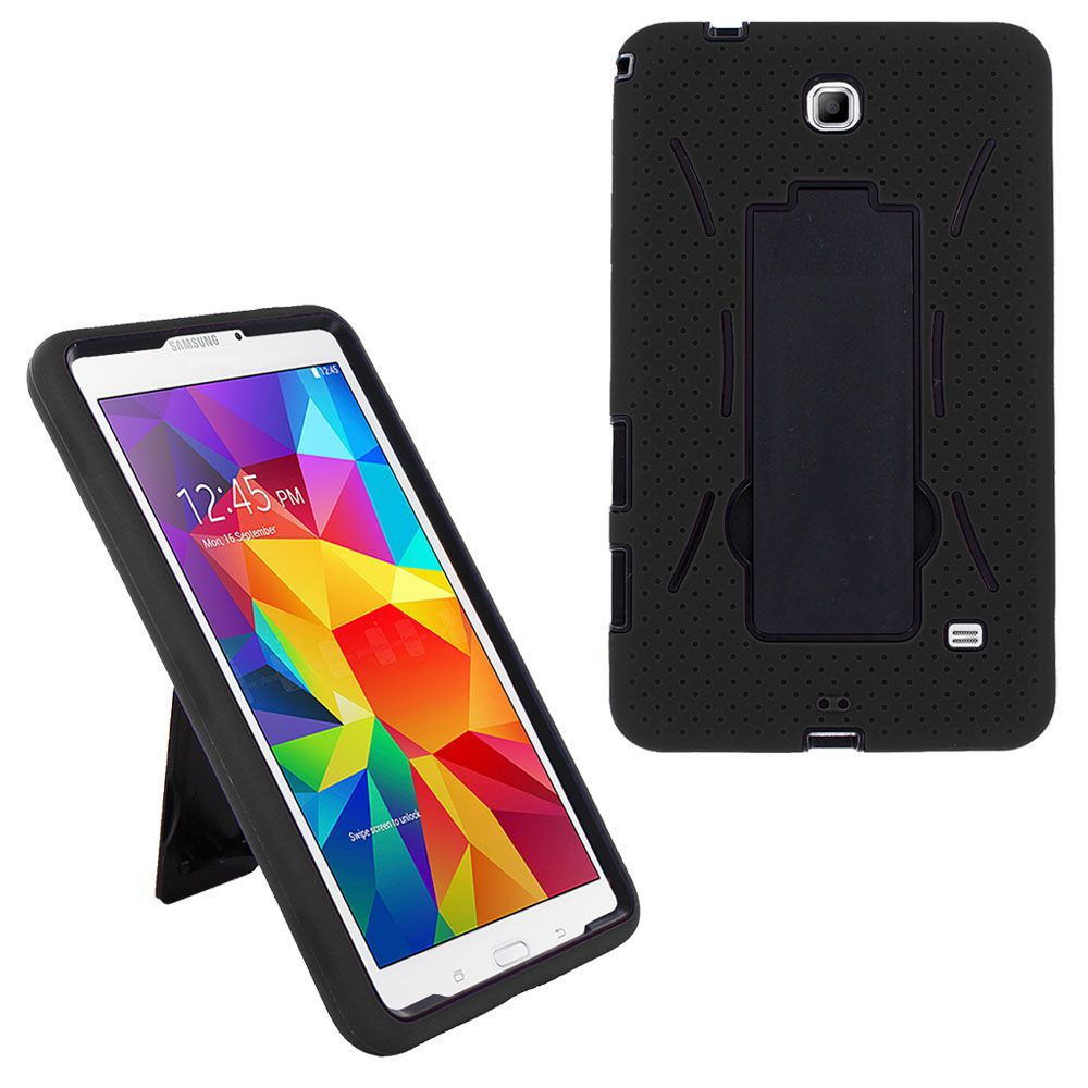Shockproof Hybrid Case Cover by KIQ for Samsung Galaxy Tab 4 7.0 SM-T230 (Black/Black)