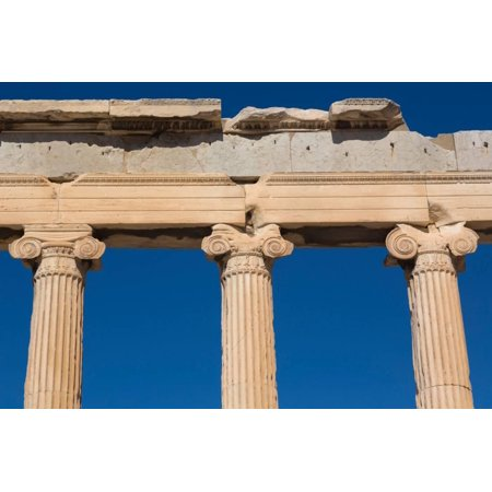 Plastic Greek Columns (Athens, Attica, Greece. Ionic capitals on columns of the Erechtheion on the Acropolis. The Acrop... Print Wall)