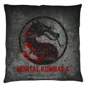 Mortal Kombat X Stone Logo Throw Pillow White 20X20
