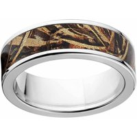 Max 5 Men's Camo Stainless Steel Ring with Polished Edges and Deluxe Comfort Fit