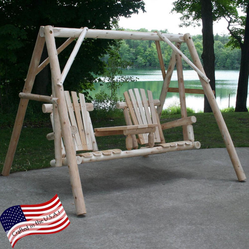 Lakeland Mills Tete-A-Tete Porch Swing with Stand by Lakeland Mills