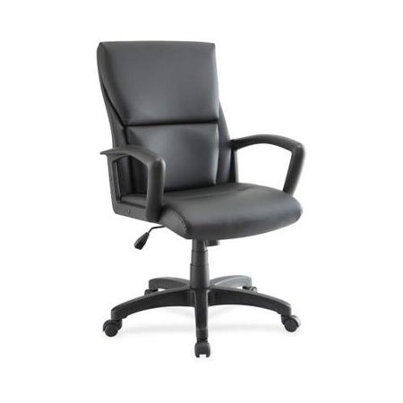 Lorell Euro Design Leather Exec. Mid-back Chair LLR84570 - Exec Stitching Leather