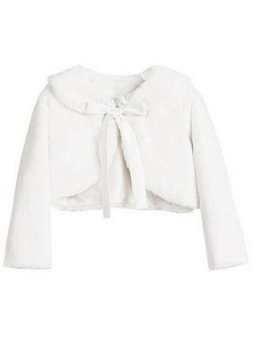 Big Girls' Faux Fur Ribbon Long Sleeve Tie Flower Girl Bolero Jacket Cover Cape White 16 (SC3K5)