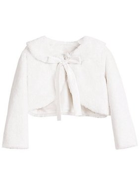 2c6ea0709 Product Image Big Girls' Faux Fur Ribbon Long Sleeve Tie Flower Girl Bolero  Jacket Cover Cape White