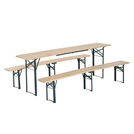 Outsunny 7' Wooden Outdoor Folding Patio Camping Picnic Table Set with Bench Wooden Picnic Tables Benches